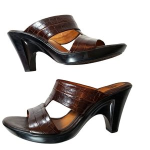 Sofft Leather Croc Heeled Slip On strappy sandals brown